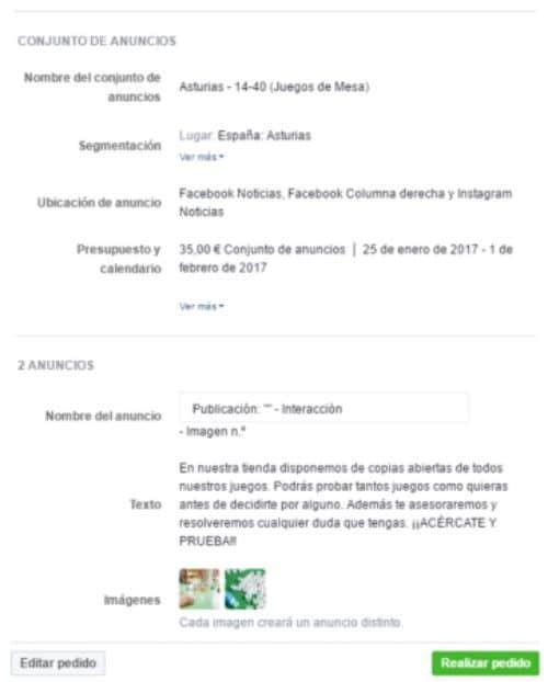 pedido facebook
