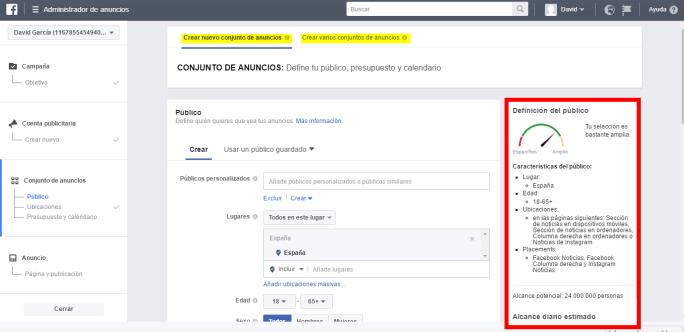 crear conjunto de anuncios en Facebook